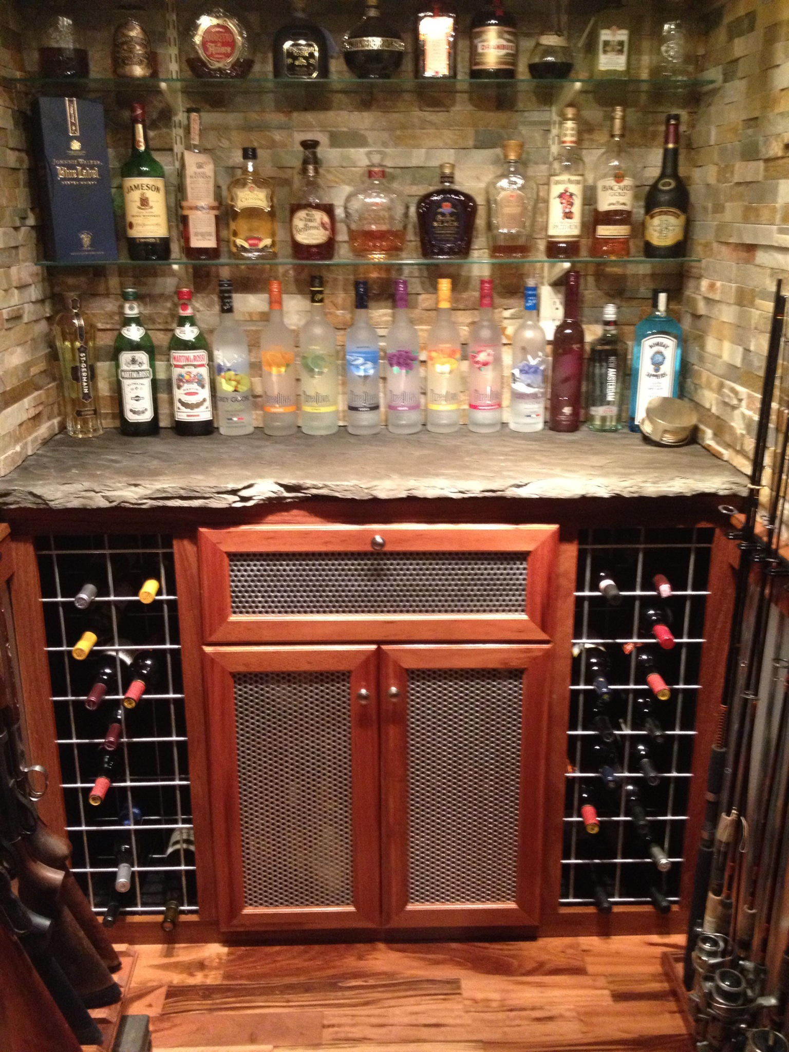 New Custom Walk Up Basement Bar & A-Master Builders | Finished Basements