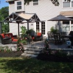 New Paver Entertaining Area with Pergola and Fire Pit