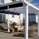 Pergola with Retractable Shades by Pool
