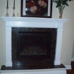 New Gas Fireplace with Marble and Custom Wood Mantle