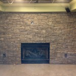 Basement Fireplace with Stonework