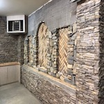 Garage Renovation with stone wall
